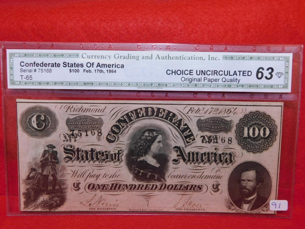 $100.00 CONFEDERATE STATES OF AMERICA LUCY PICKENS NOTES (THIS IS ONE OF THREE CONSECUTIVE NUMBERED NOTES) CGA CU63