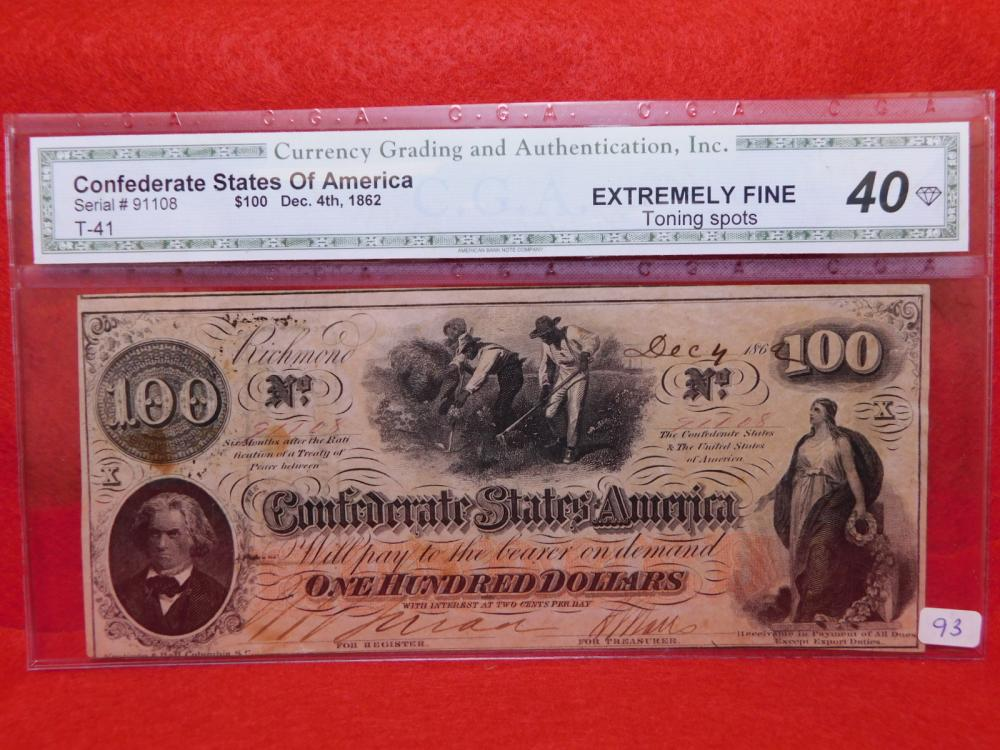 $100.00 CONFEDERATE STATES OF AMERICA NOTE DEC. 4, 1862 CGA EF40