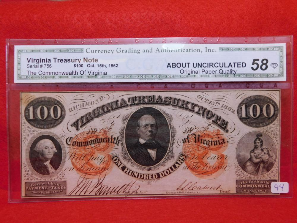 $100.00 VIRGINA TREASURY NOTE OCT. 15, 1862 CGA AU58