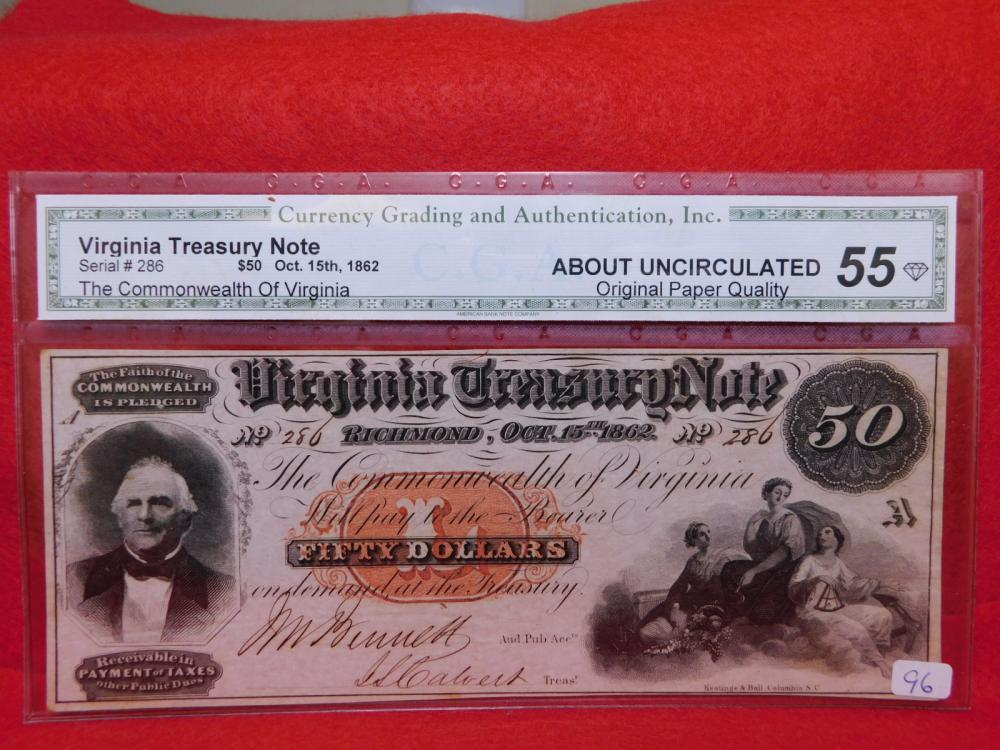 $50.00 VIRGINA TREASURY NOTE OCT. 15, 1862 CGA AU55