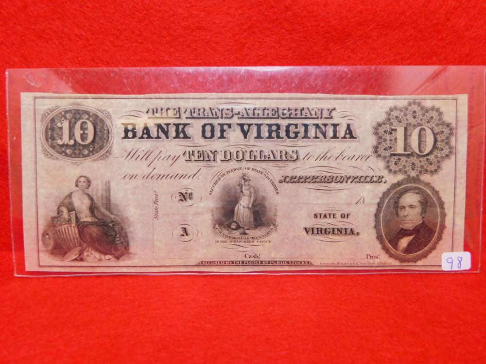 $10.00 THE TRANS-ALLEGHANY BANK OF VIRGINA UNISSUED OBSOLETE CURRENCY AU