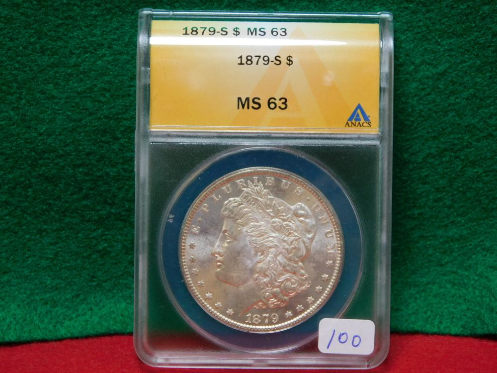 1879-S MORGAN SILVER DOLLAR ANACS MS63