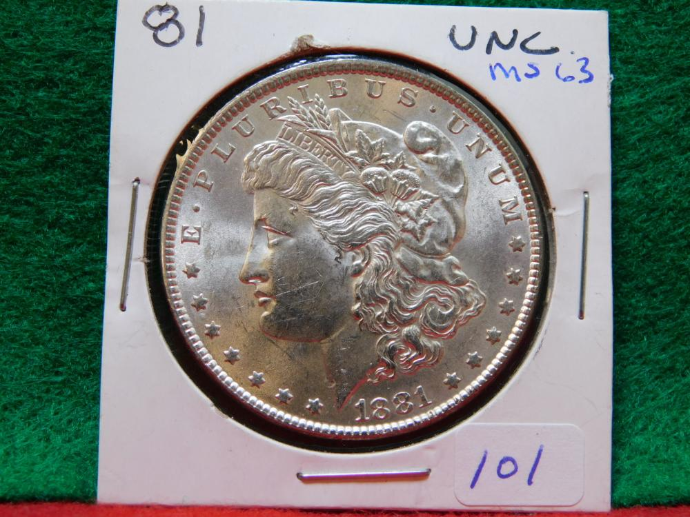 1881 MORGAN SILVER DOLLAR MS63
