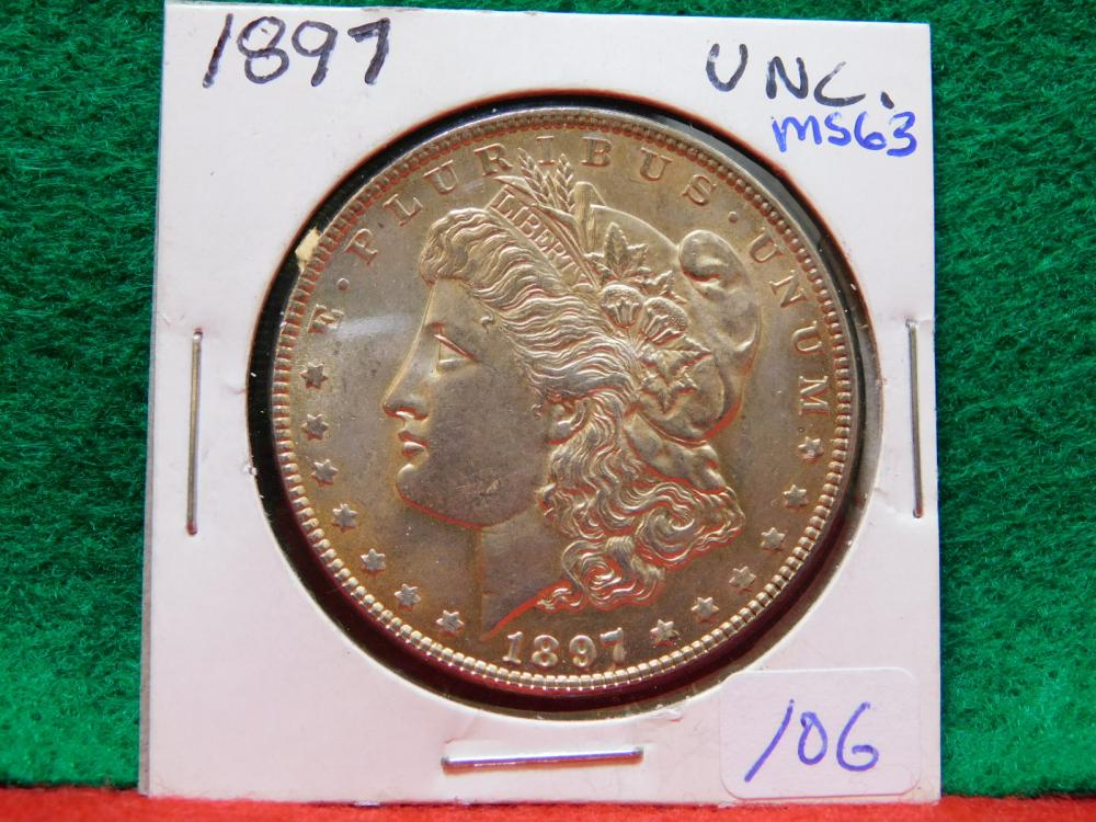 1897 MORGAN SILVER DOLLAR MS63