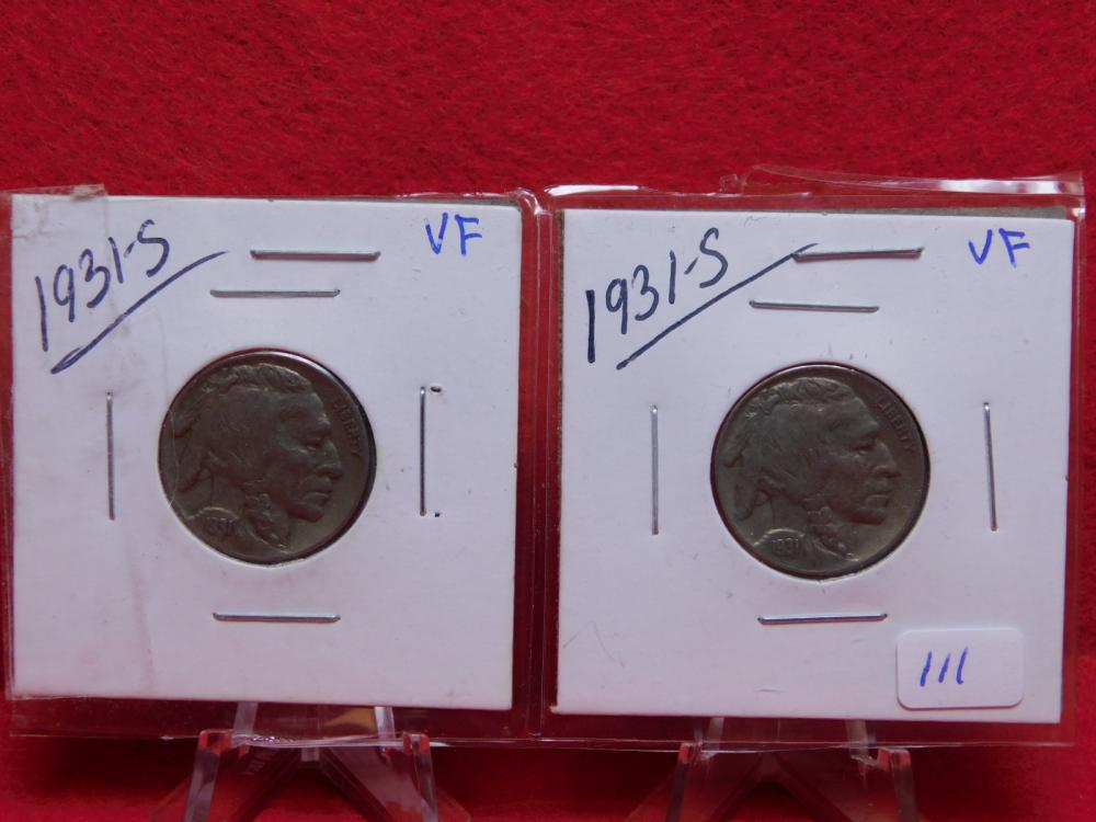2-1931-S BUFFALO NICKELS VF