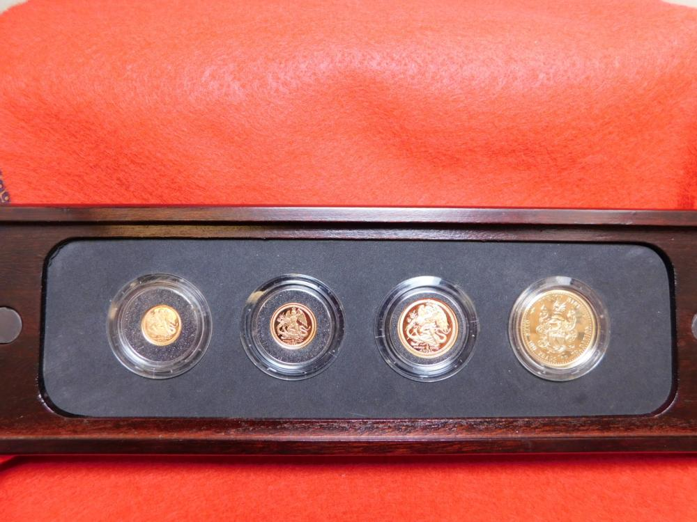 1991 PROOF ISLE OF MAN 3 GOLD COIN SET OF ANGEL COINS MINTED AT POBJOY MINT OF 500 SETS PRODUCED ALMOST 1/2 OZ OF GOLD TOTAL