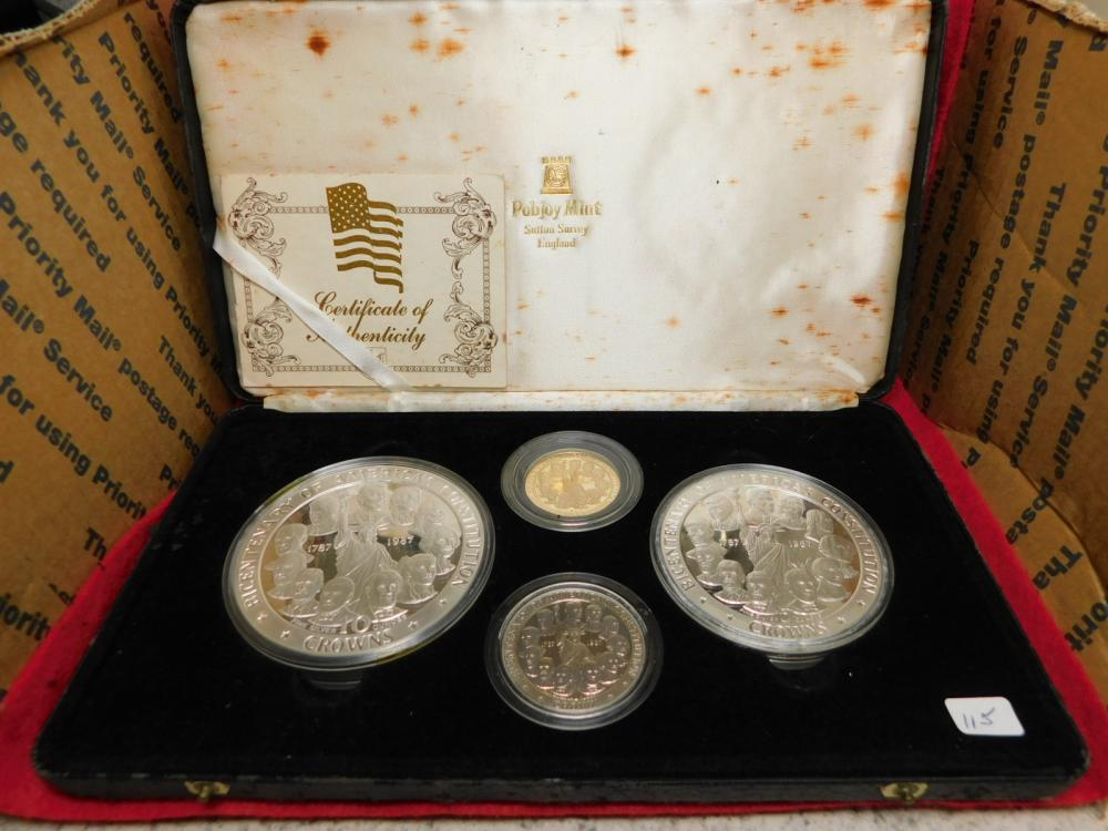 1987 ISLE OF MAN 4 COIN SET OF (BICENTENARY OF AMERICA'SCONSTITUTION CROWNS) INCLUDE 1 OZ PALLADIUM, 1/2 OZ GOLD, 10 & 5 OZ SILVER COINS ALL PROOF