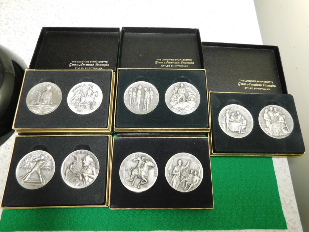 10 - 1.25 OZ STERLING SILVER MEDALS (GREAT AMERICAN TRIUMPHS) 12.50 OZ'S OF SILVER