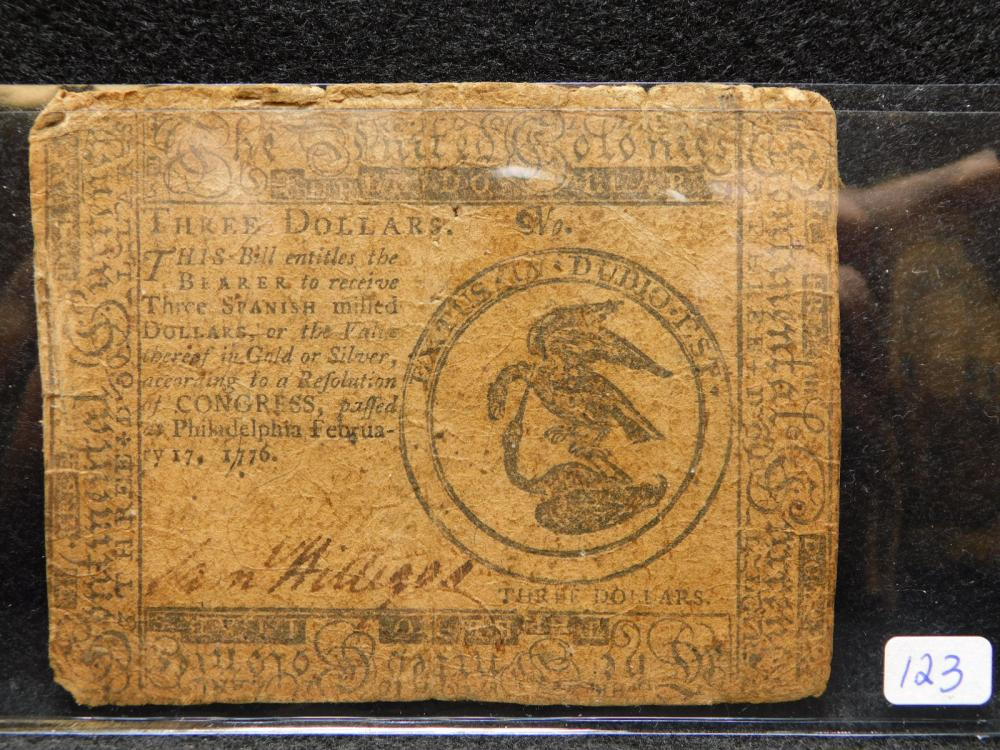 1776 $3.00 CONTINENTAL CURRENCY NOTE
