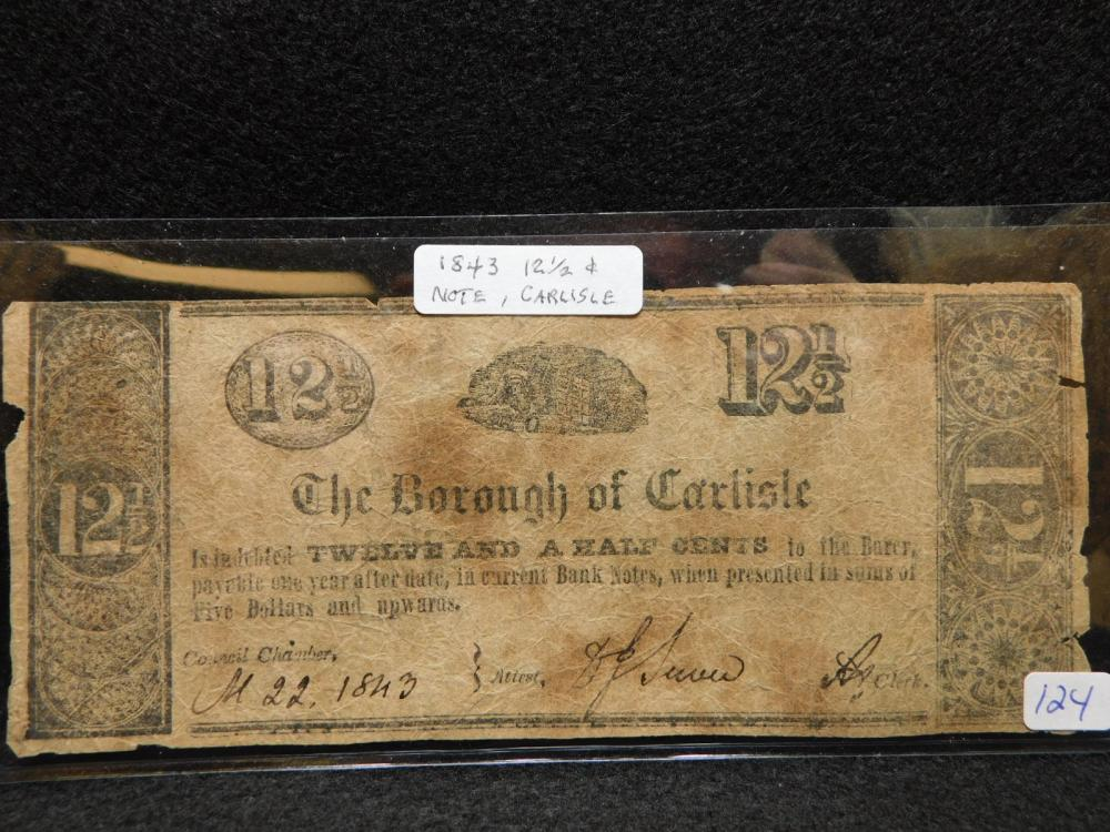 1843 12 1/2 CENTS (THE BOROUGH OF CARLISLE) BANK NOTE