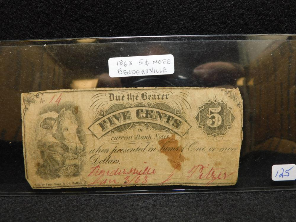 1863 5 CENTS BENDERSVILLE PA BANK NOTE