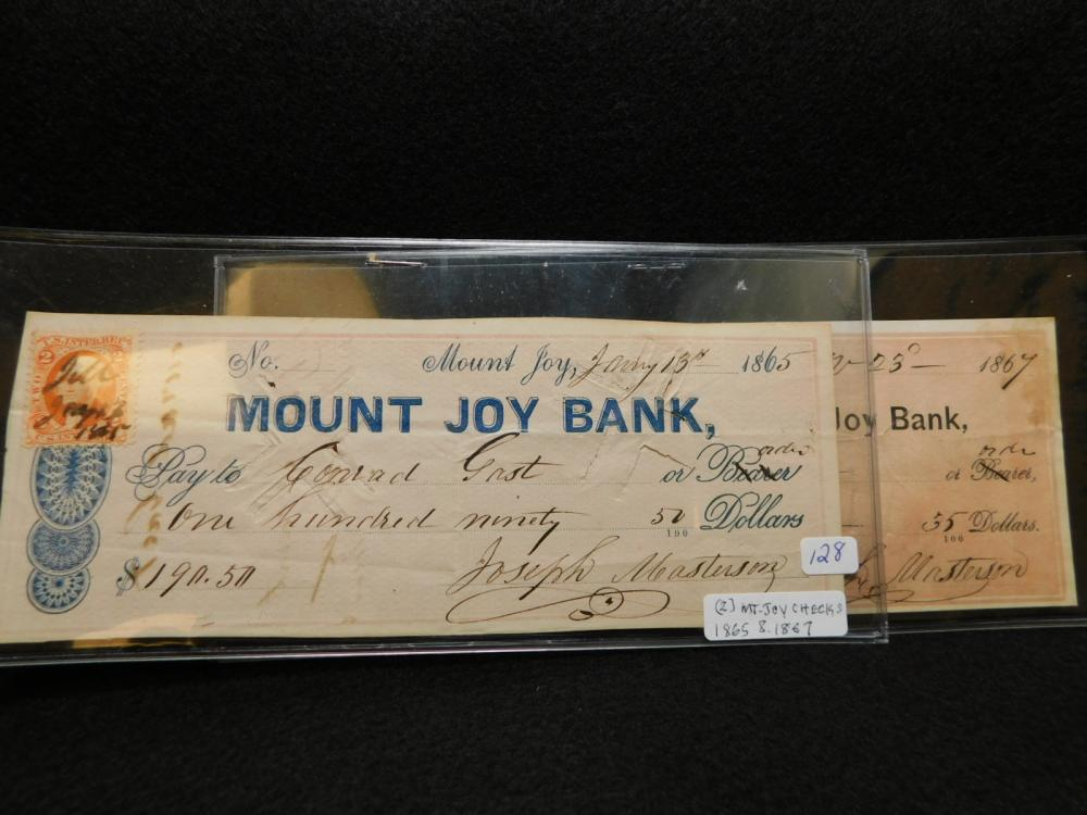 2 - MOUNT JOY PA. CHECKS 1865 & 1867