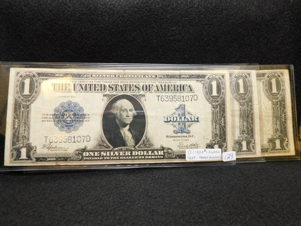 3 - SERIES 1923 $1.00 SILVER CERTIFICATES (LARGE NOTES / HORSE BLANKETS)