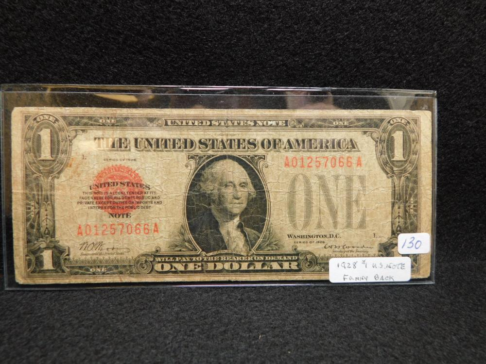SERIES 1928 $1.00 UNITED STATES RED SEAL NOTE FUNNY BACK