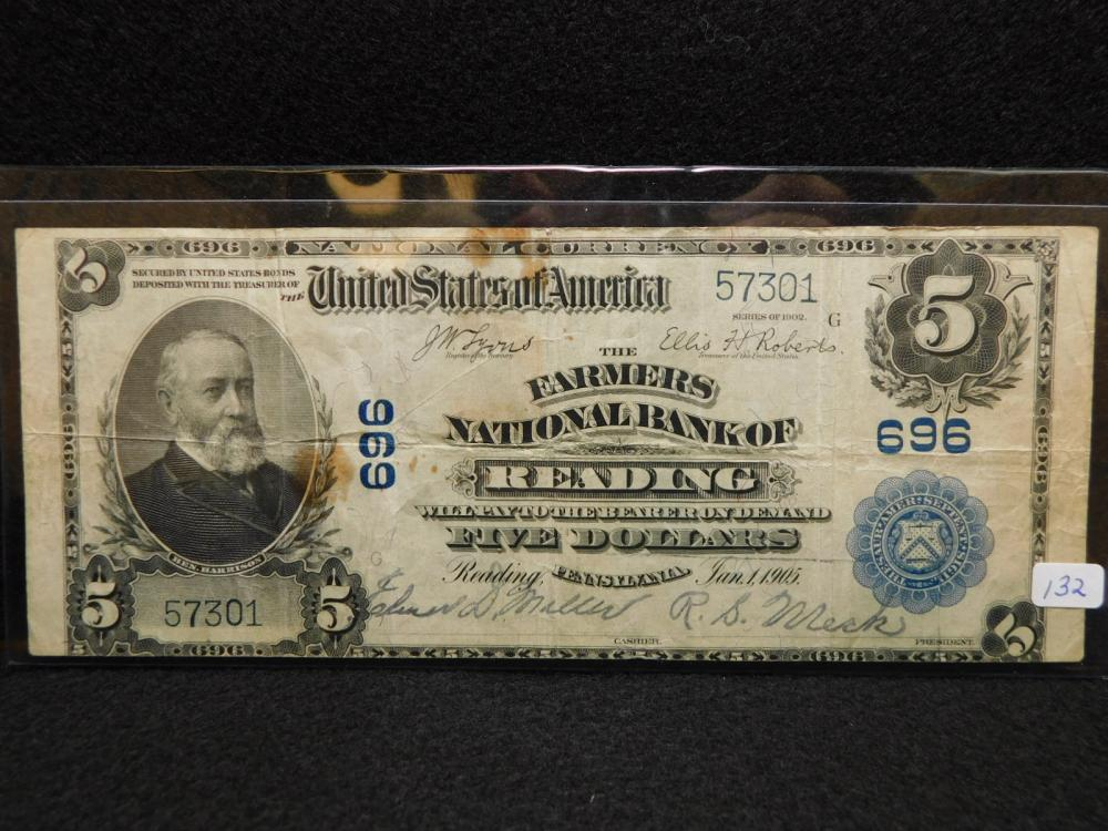 SEIRES 1902 $5.00 NATIONAL CURRENCY (THE FARMERS NATIONAL BANK OF READING) F