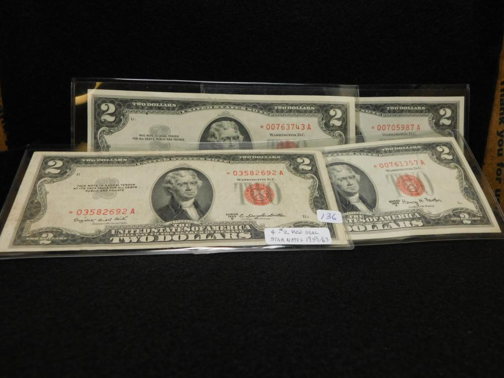 4 - $2.00 UNITED STATES RED SEAL STAR NOTES