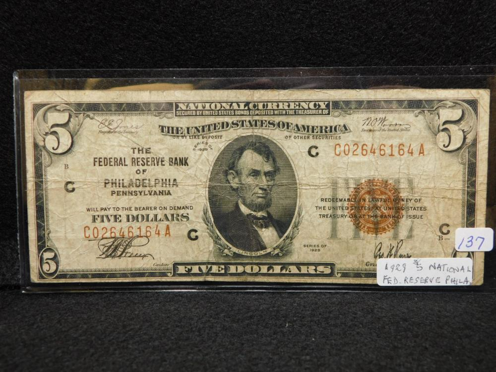 SERIES 1929 $5.00 NATIONAL CURRENCY THE FRB OF PHILADELPHIA