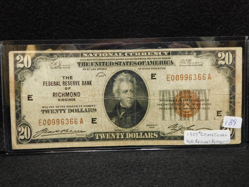 SERIES 1929 $20.00 NATIONAL CURRENCY THE FEDERAL RESERVE BANK OF RICHMOND VA