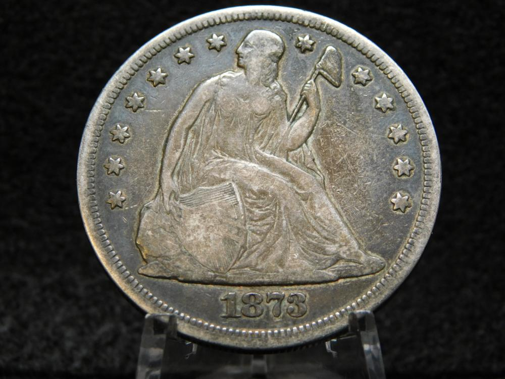 1873 SEATED LIBERTY SILVER DOLLAR F