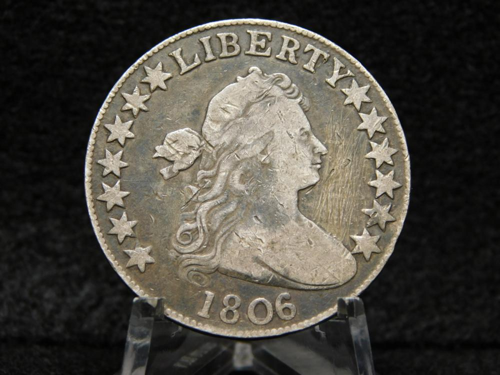 1806 DRAPED BUST HALF DOLLAR VF+