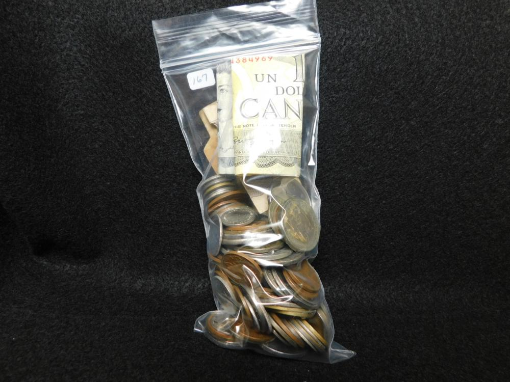 BAG WITH MISC. FOREIGN COINS & CURRENCY