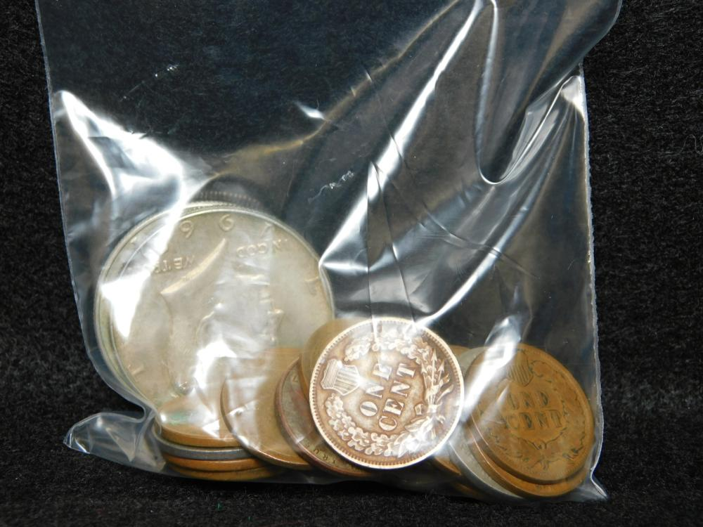 BAG WITH MISC. U.S. COINS SOME SILVER
