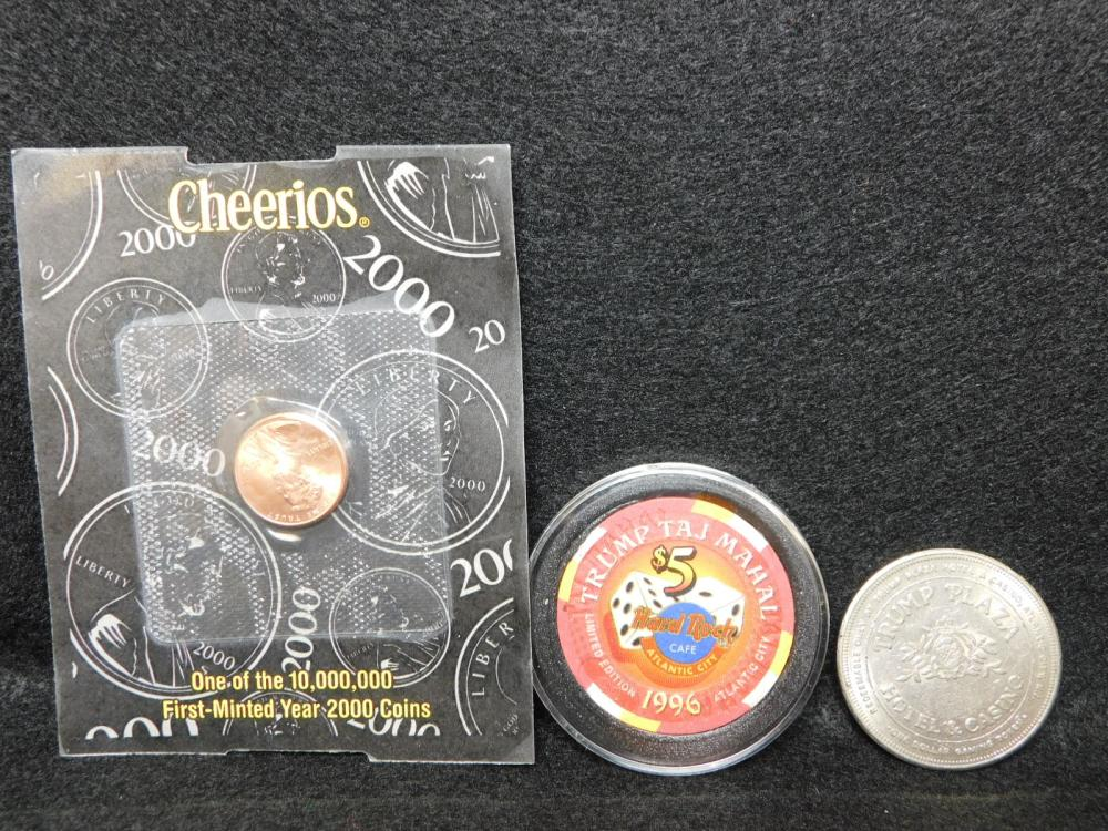 2 - TRUMP CASINO TOKENS $1.00 & $5.00 PLUS 2000 CHEERIOS CENT