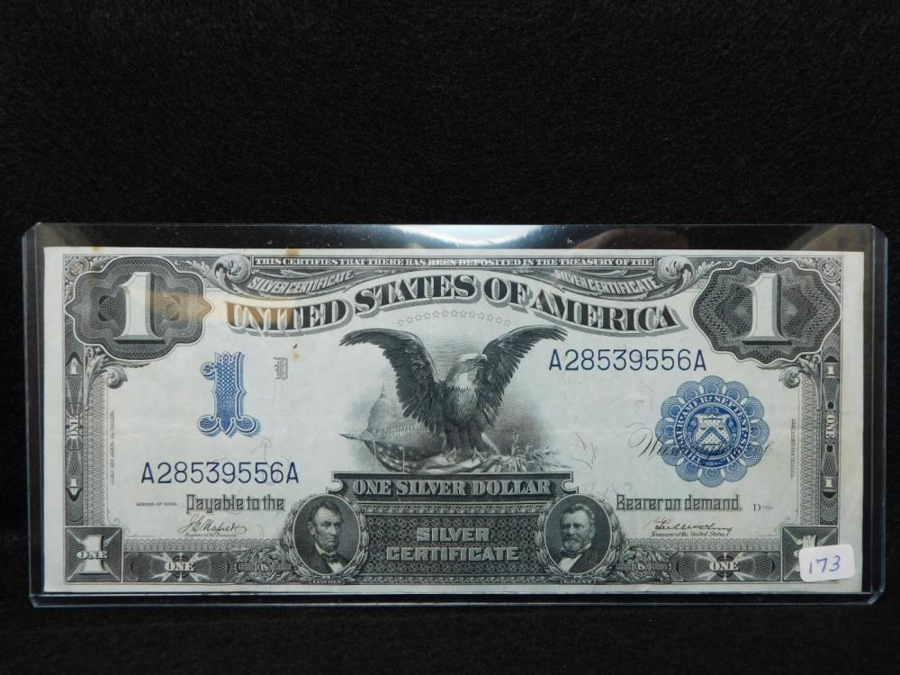 SERIES 1899 $1.00 SILVER CERTIFICATE BLACK EAGLE NOTE EF