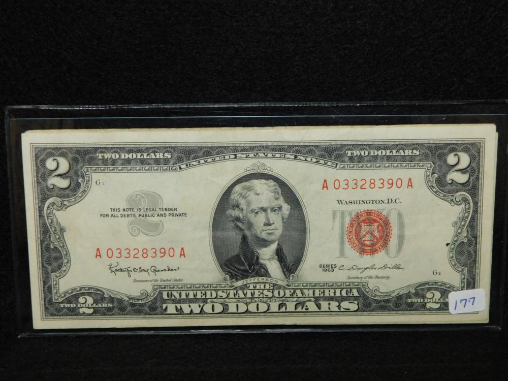 3 - SERIES 1963 $2.00 RED SEAL UNITED STATES NOTES $6.00 FV
