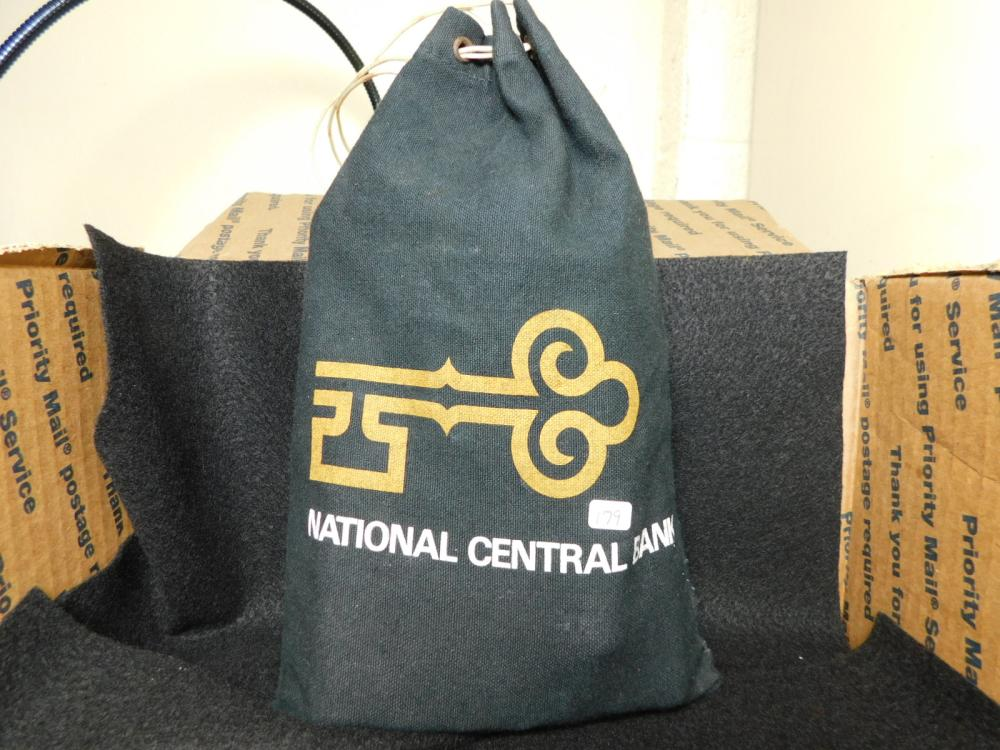 NATIONAL CENTRAL BANK BAG WITH $14.00 1960 SMALL DATE LINCOLN CENTS