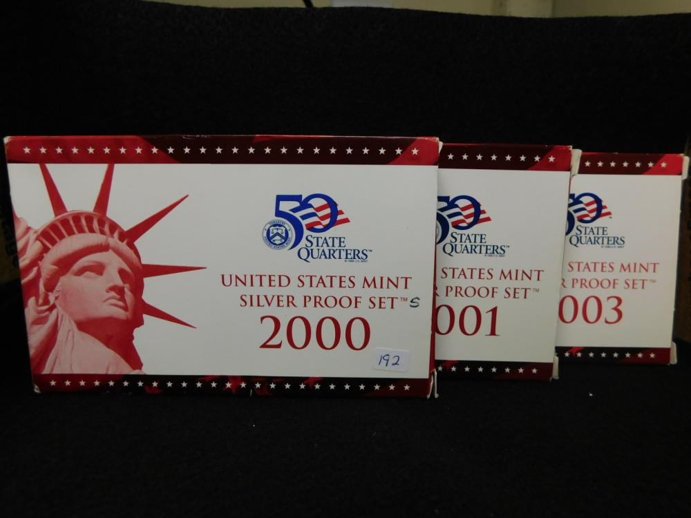 3 - SILVER PROOF SETS 2000, 2001 & 2003