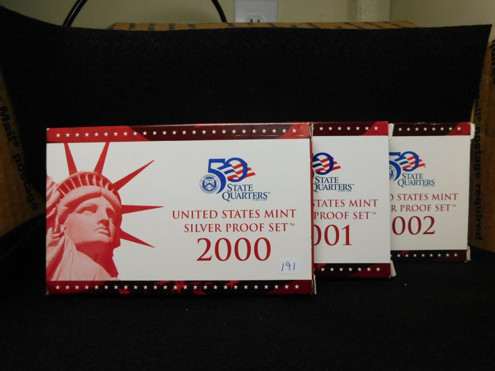 3 - SILVER PROOF SETS 2000, 2001 & 2002