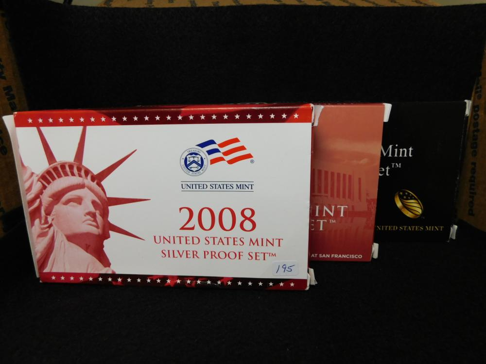3 - SILVER PROOF SETS 2008, 2010 & 2011