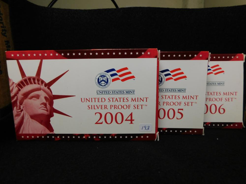 3 - SILVER PROOF SETS 2004, 2005 & 2006