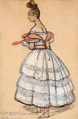 Maxime DETHOMAS (1867-1929) Jeune femme en robe de