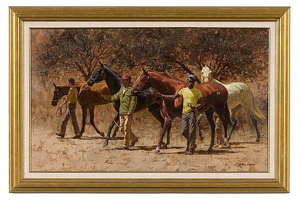 Scene with Horses by John Leone, Oil on Canvas