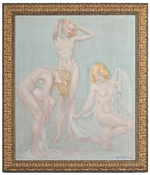 Nude Figures by Clarence Francis Busch, Oil on Canvas