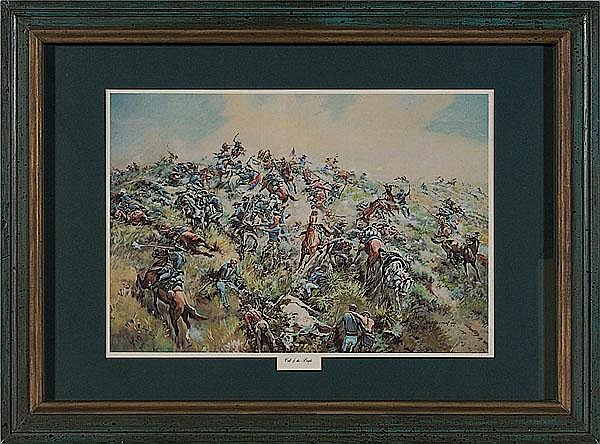 Chromolithograph of Custer's Last Stand by J.K. Ralston,