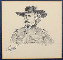 Randy Steffen Pen and Ink Drawing of Custer,