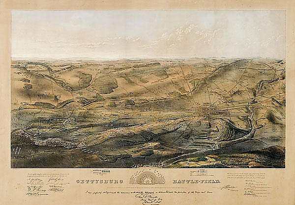 Gettysburg Battlefield Color Lithograph Panorama by Bachelder