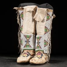 Northern Plains Beaded Hightop Moccasins, From a Western American Museum