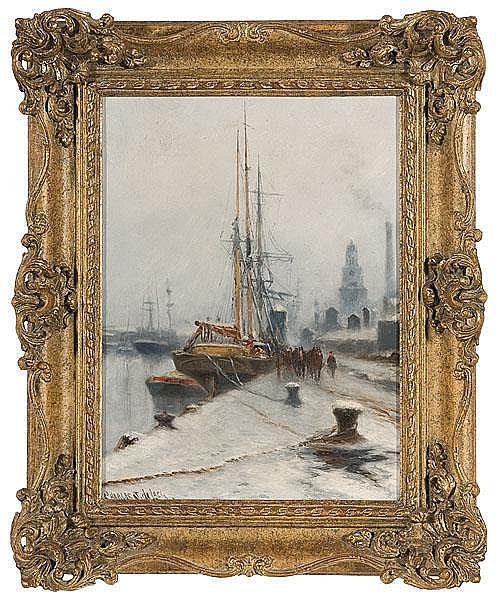 Winter Harbor Scene by Charles J. de Lacy, Oil on Canvas