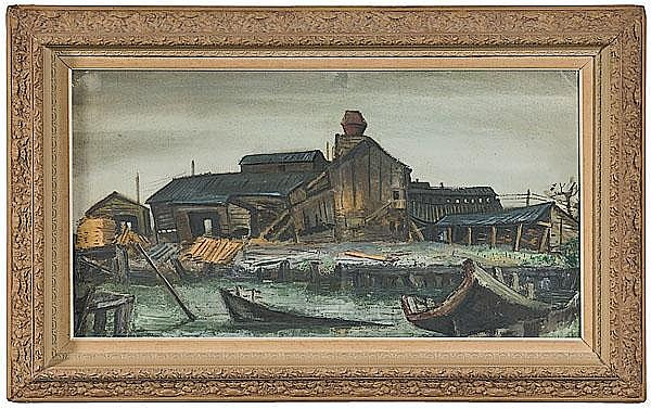 Harbor Scene by William M. Halsey, Mixed Media on Board