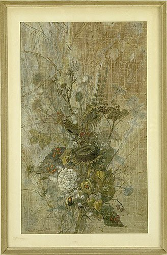 Robert Laessig Floral Still Life on Paper, mixed media, signed in the lower left and dated 1959.  Depicts a dried floral arrangment, typical of