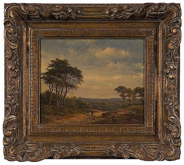 Alexandre H. Bakhuyzen (Netherlands, 1826-1878), Landscape with Traveler
