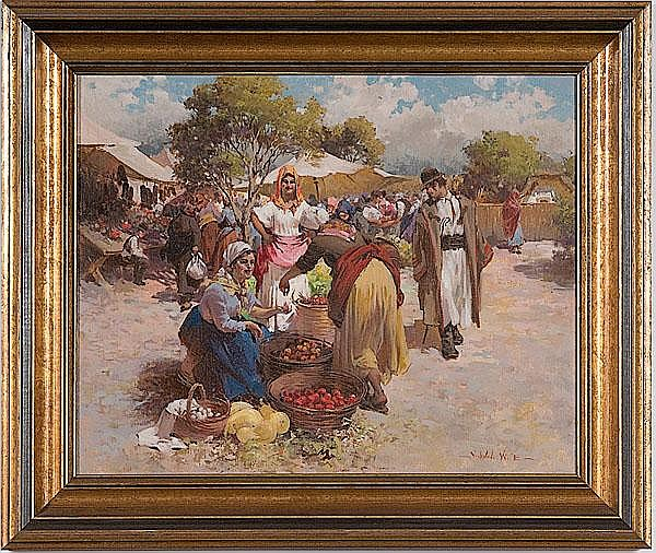 Market Scene by Witman Etelka Vizkeleti (Hungarian, 1882-1962)