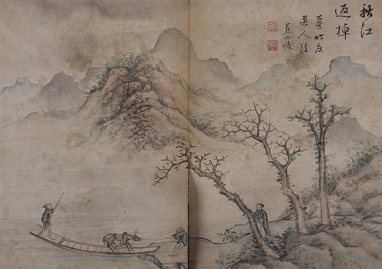 Album de peintures à l'encre et polychromie sur papier, et de calligraphies. Couverture en bois. Cachets de