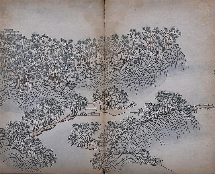 Album comprenant des peintures à l'encre et polychromie sur papier, palais dans des paysages. Accidents, trous