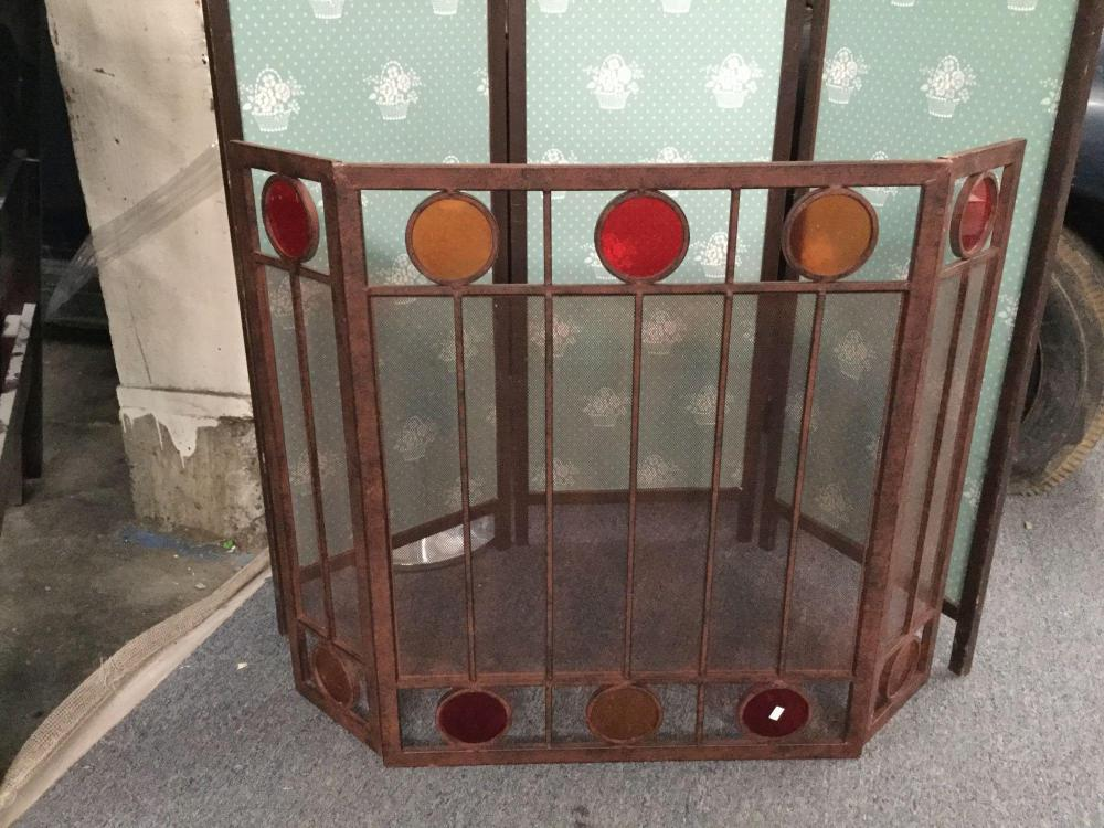 Sensational Vintage Mid Century Metal Fireplace Screen With Red Orange Beutiful Home Inspiration Ommitmahrainfo