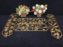Set of four matching syroco style gold painted wall art panels w/ 2 cast iron flower door stops
